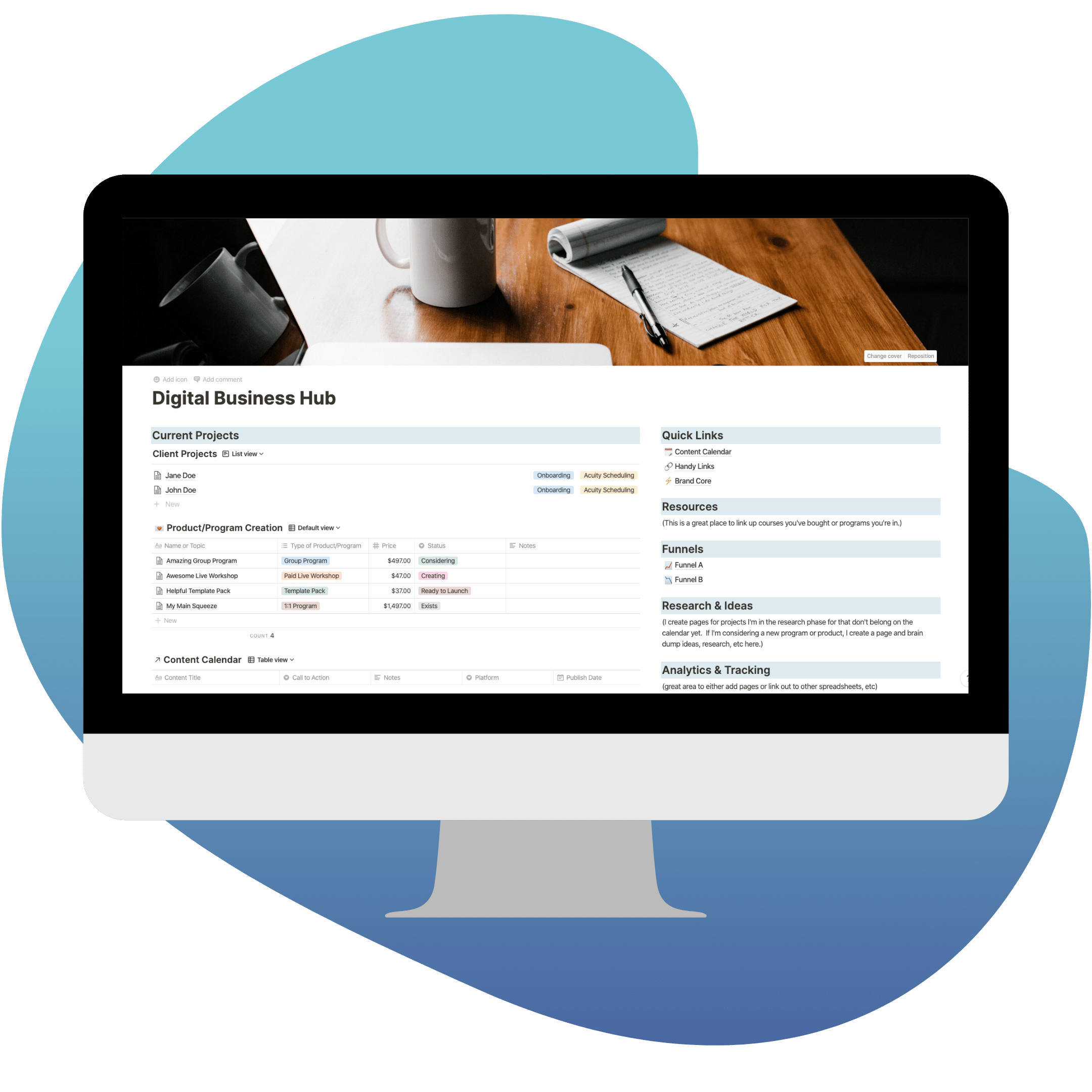 Notion Business Hub Mockup